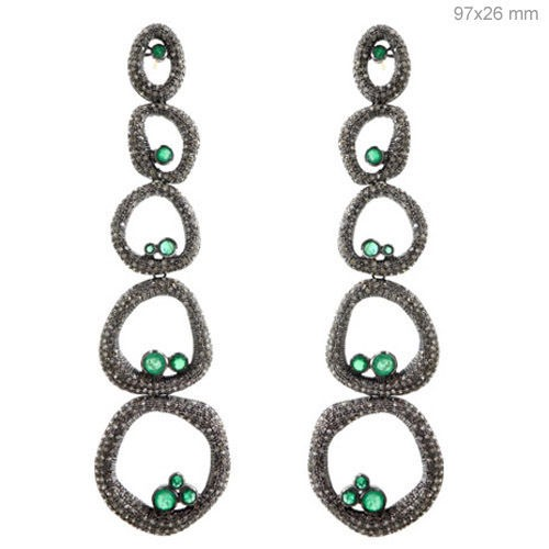 Polki Earrings 6.4 Ct Natural Certified Diamond Emerald 925 Sterling Silver Everyday