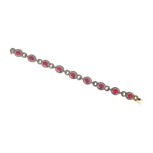 Antique Diamond Tennis Bracelet 4.5 Ct Natural Certified Diamond Ruby 925 Sterling Silver Jewelry Office Wear