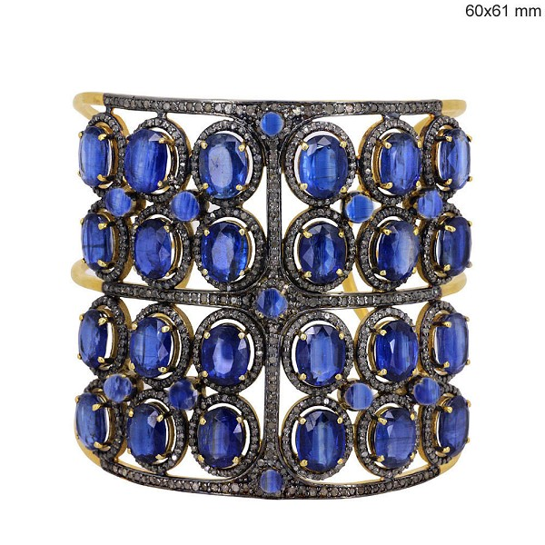 Victorian Bracelet 7.5 Ct Natural Certified Diamond Kyanite 925 Sterling Silver Engagement