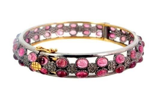Antique Bracelets 3Ct Natural Certified Diamond Pink Tourmaline 925 Sterling Silver Jewelry Wedding