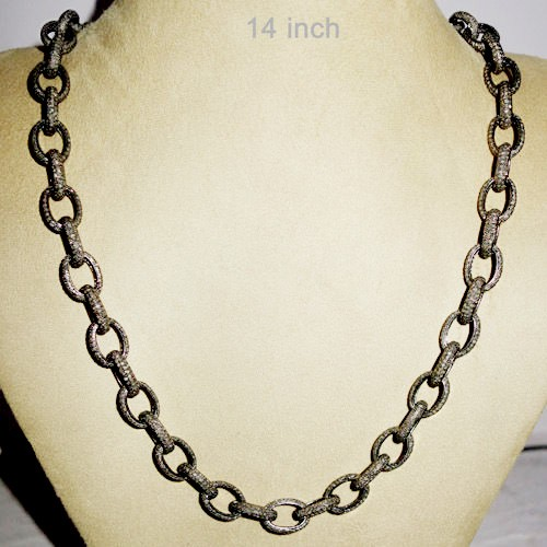 Vintage Style Necklaces 38 Ct Natural Certified Diamond 925 Sterling Silver Wedding