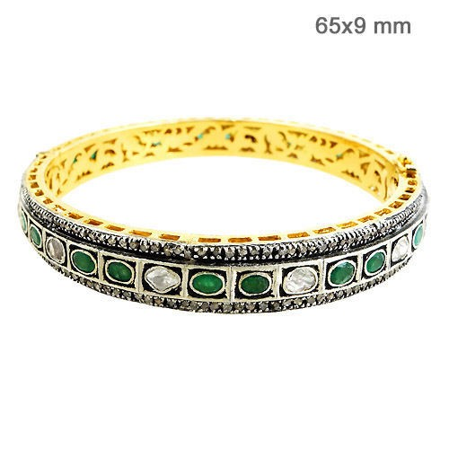 Art Deco Bracelet 4.9 Ct Natural Certified Diamond Emerlad 925 Sterling Silver Vacation