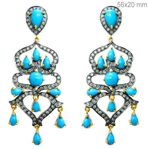 Victorian Drop Earrings 3.8 Ct Natural Certified Diamond Turquoise 925 Sterling Silver Workwear
