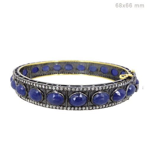 Antique Tennis Bracelet 3 Ct Natural Certified Diamond Blue Sapphire 925 Sterling Silver Weekend