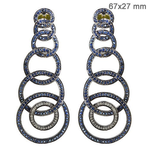 Victorian Diamond Earrings 0.65 Ct Natural Certified Diamond Blue Sapphire 925 Sterling Silver Everyday