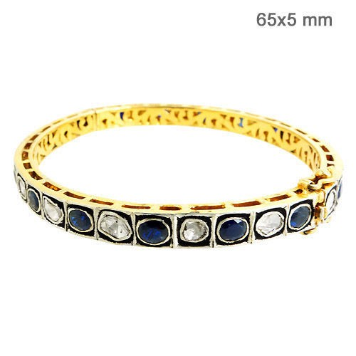 Antique Diamond Tennis Bracelet 1.3 Ct Natural Certified Diamond Blue Sapphire 925 Sterling Silver Weekend