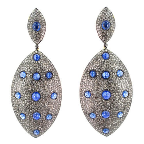 Victorian Earrings 13 Ct Natural Certified Diamond Blue Sapphire 925 Sterling Silver Jewelry Special Occasion