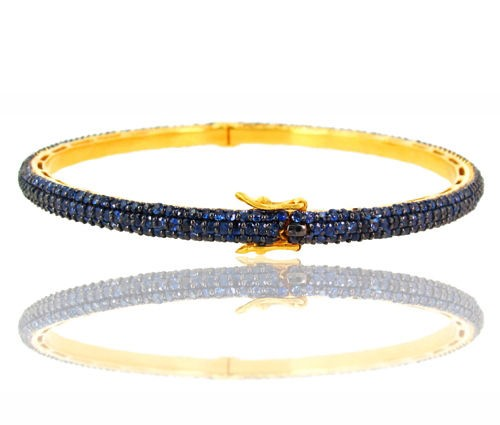 Art Deco Tennis Bracelet 0 Ct Natural Certified Diamond Blue Sapphire 925 Sterling Silver Office Wear