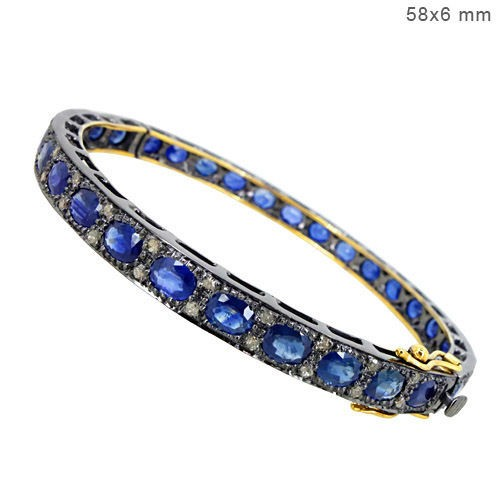 Vintage Bracelets 1.75 Ct Natural Certified Diamond Blue Sapphire 925 Sterling Silver Special Occasion