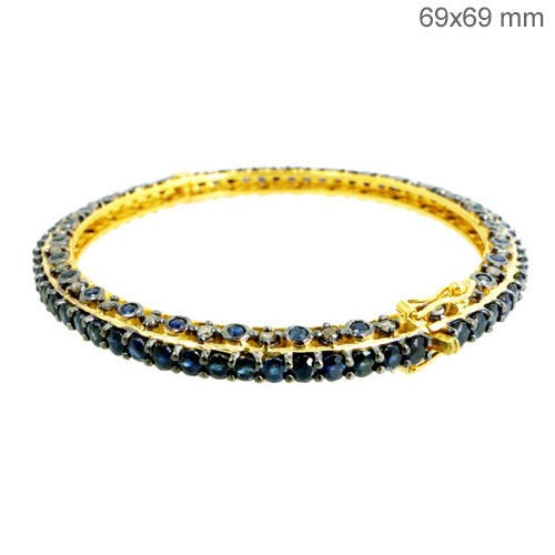 Antique Diamond Bracelet 2 Ct Natural Certified Diamond Sapphire 925 Sterling Silver Festive