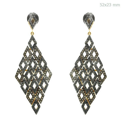 Vintage Diamond Earrings 5 Ct Natural Certified Diamond 925 Sterling Silver Jewelry Party