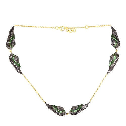 Victorian Necklace 4 Ct Natural Certified Diamond Emerald 925 Sterling Silver Engagement