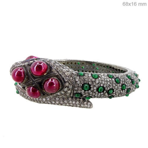 Art Deco Tennis Bracelet 11 Ct Natural Certified Diamond Ruby Emerald 925 Sterling Silver Everyday