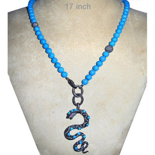Uncut Diamond Necklace 7 Ct Natural Certified Diamond Turquoise & Ruby 925 Sterling Silver Vacation