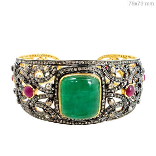 Vintage Bracelets 9 Ct Natural Certified Diamond Ruby Emerald 925 Sterling Silver Workwear
