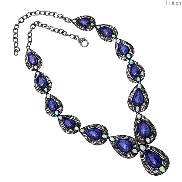 Vintage Diamond Necklace 14 Ct Natural Certified Diamond Tanzanite Opal 925 Sterling Silver Engagement