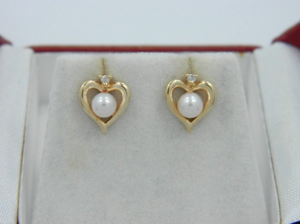 Natural Ij-Si2 Diamond Pearl 3.00 Ct 14K Gold Heart Earrings