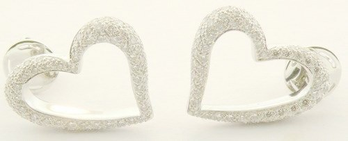 1.00 Ct Natural Diamond 14K Solid White Gold Heart Earrings