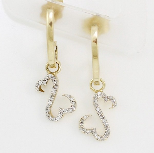 0.60 Ct Natural Diamond 14K Solid Yellow Gold Heart Earrings
