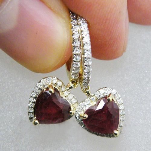 1.00 Ct Ij-Si2 Natural Diamond Garnet 14K Solid Gold Heart Earrings