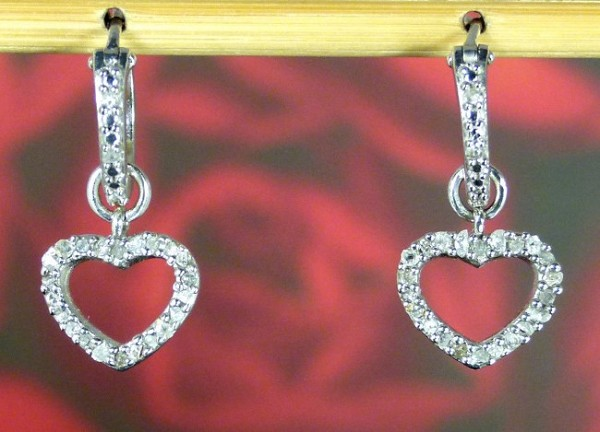 0.75Ct Ij-Si2 Natural Diamond 14K Solid White Gold Heart Earrings