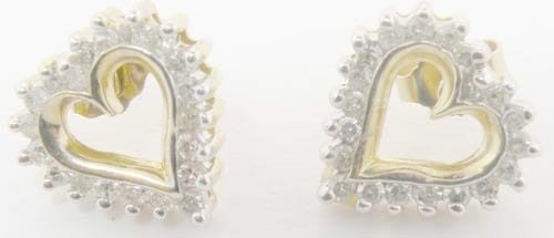 0.55 Ct Natural Diamond 14K Solid Gold Wedding Heart Earrings