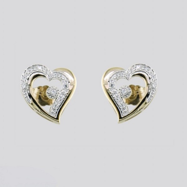 0.45 Ct Natural Diamond 14K Gold Wedding Heart Earrings