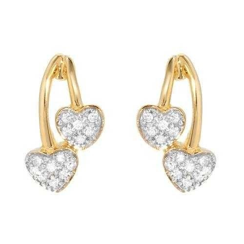 0.50 Ct Ij-Si2 Natural Diamond 14K Yellow Gold Heart Earrings