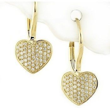 1.35 Ct Natural Diamond 14K Gold Wedding Heart Earrings