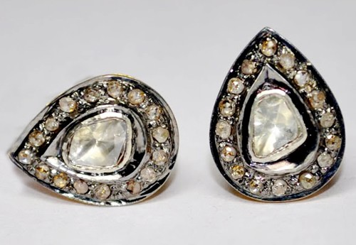 Victorian Cufflinks 0.65 Ct Natural Certified Diamond 925 Sterling Silver Engagement