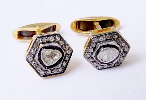 Vintage Style Cufflinks 0.55 Ct Natural Certified Diamond 925 Sterling Silver Party