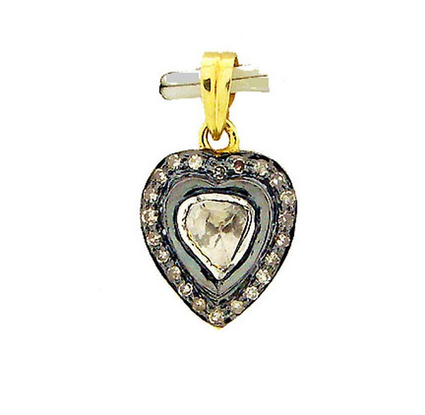 Art Deco Diamond Pendant 0.40 Ct Uncut Natural Certified Diamond 925 Sterling Silver Engagement