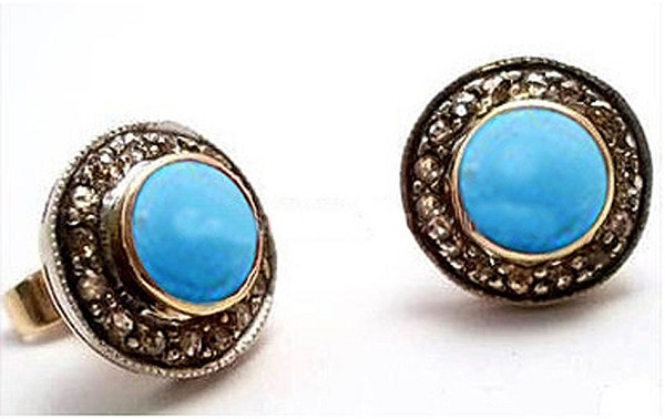 Victorian Drop Earrings 2.10 Ct Natural Certified Diamond Turquoise 925 Sterling Silver Office Wear