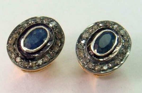 Victorian Diamond Earrings 1.60 Ct Natural Certified Diamond Blue Sapphire 925 Sterling Silver Special Occasion