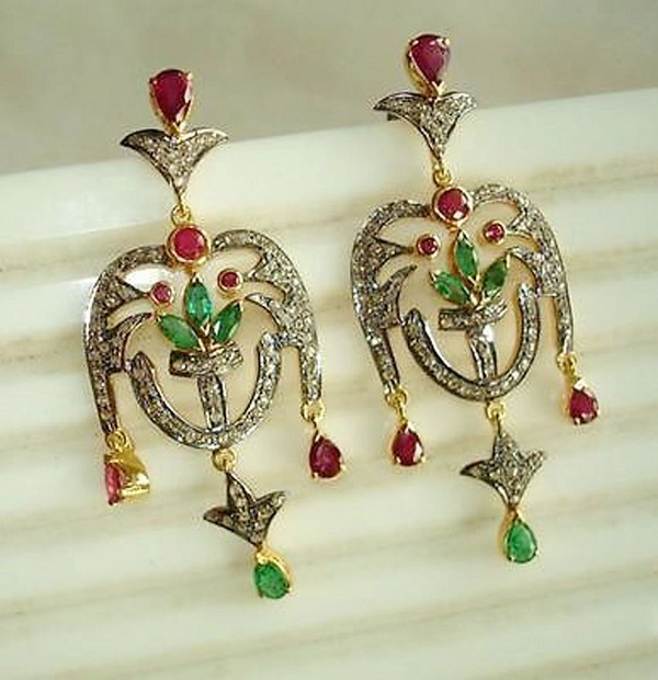 Polki Earrings 6.50 Ct Natural Certified Diamond Ruby Emerald 925 Sterling Silver Engagement