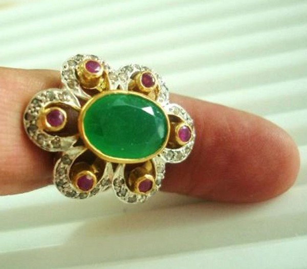 Vintage Wedding Ring 3.10 Ct Natural Certified Diamond Ruby Emerald 925 Sterling Silver Workwear