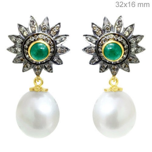 Antique Diamond Earrings 5.18 Ct Natural Certified Diamond Emerald Pearl 925 Sterling Silver Party