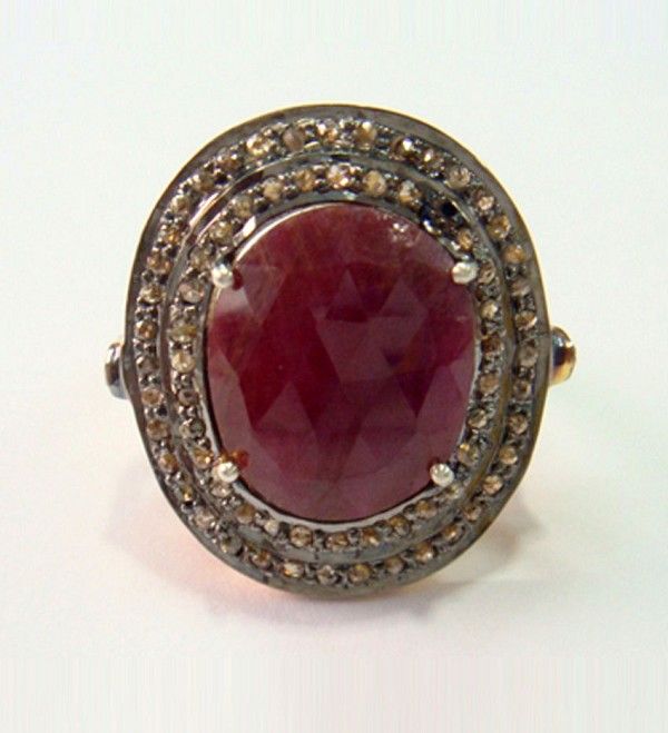 Polki Rings 3.22 Ct Natural Certified Diamond Ruby 925 Sterling Silver Anniversary