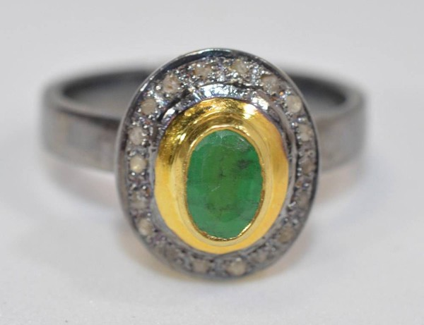 Antique Wedding Ring 1.11 Ct Natural Certified Diamond Emerald 925 Sterling Silver Engagement