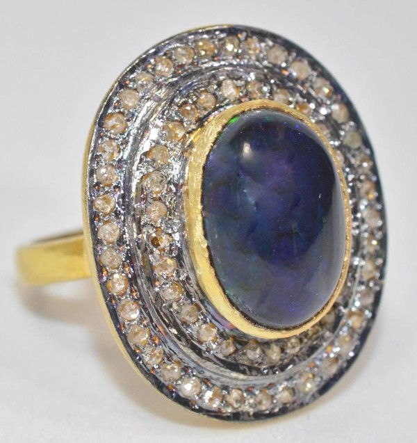 Victorian Diamond Ring 4.51 Ct Natural Certified Diamond Sapphire 925 Sterling Silver Wedding