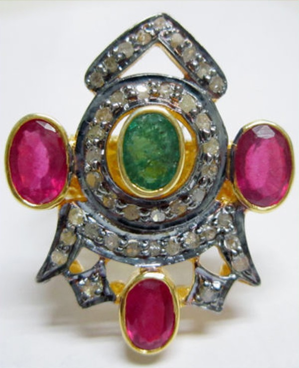 Vintage Art Deco Rings 1.80 Ct Natural Certified Diamond Ruby Emerald 925 Sterling Silver Workwear