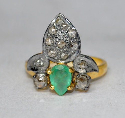 Vintage Engagement Rings For Sale 1.43 Ct Natural Certified Diamond Emerald 925 Sterling Silver Everyday