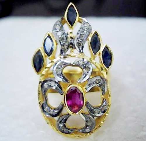 Victorian Style Wedding Rings 1.30 Ct Natural Certified Diamond Ruby Sapphire 925 Sterling Silver Anniversary