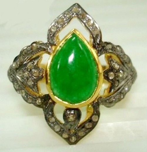 Victorian Rings For Sale 1.84 Ct Natural Certified Diamond Emerald 925 Sterling Silver Wedding