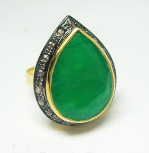 Vintage Victorian Engagement Rings 3.00 Ct Natural Certified Diamond Emerald 925 Sterling Silver Party