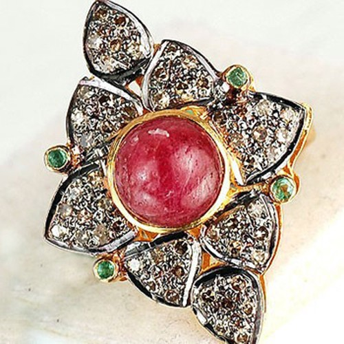 Polki Rings 3.50 Ct Natural Certified Diamond Ruby Emerald 925 Sterling Silver Anniversary