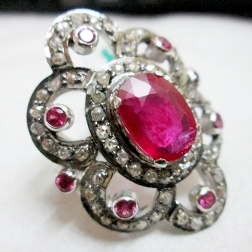 Vintage Wedding Ring 3.65 Ct Natural Certified Diamond Ruby 925 Sterling Silver Workwear