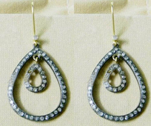 Art Deco Earrings 2.40 Ct Natural Certified Diamond 925 Sterling Silver Weekend