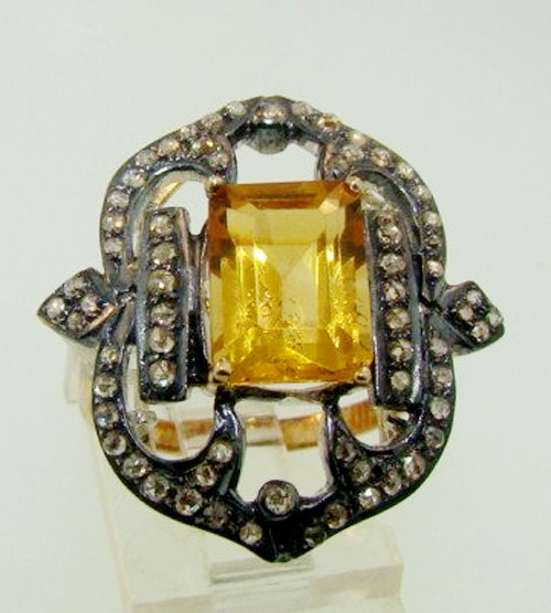 Victorian Diamond Ring 2.82 Ct Natural Certified Diamond Yellow Topaz 925 Sterling Silver Wedding