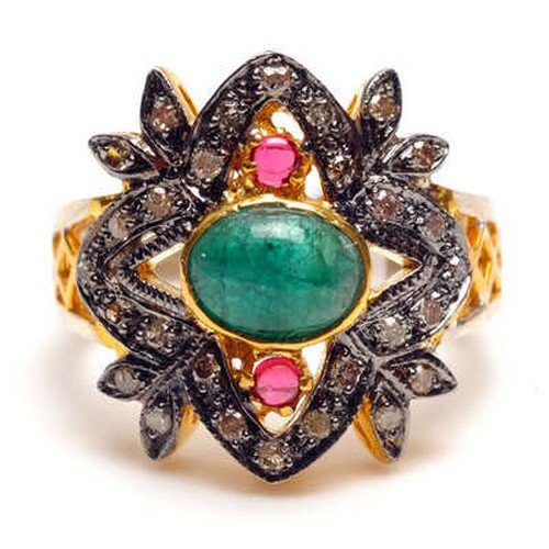 Vintage Art Deco Rings 2.22 Ct Natural Certified Diamond Emerald Ruby 925 Sterling Silver Workwear